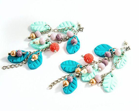 #Tiffany #blue #dangle #earrings Clay leaves by @KatHandmadeJewelry