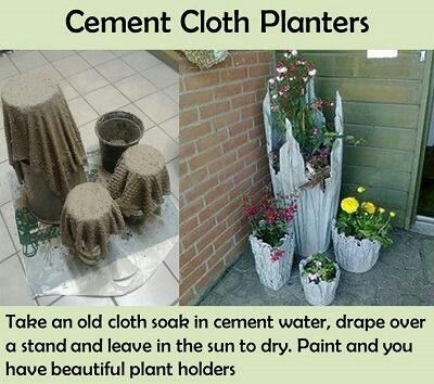 Unique cement cloth planters. You can add cement die to the powder instead of painting.