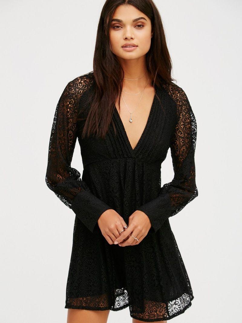 b2fd984c84f Free People Uptown Black Lace Mini Dress Black Lace Mini Dress