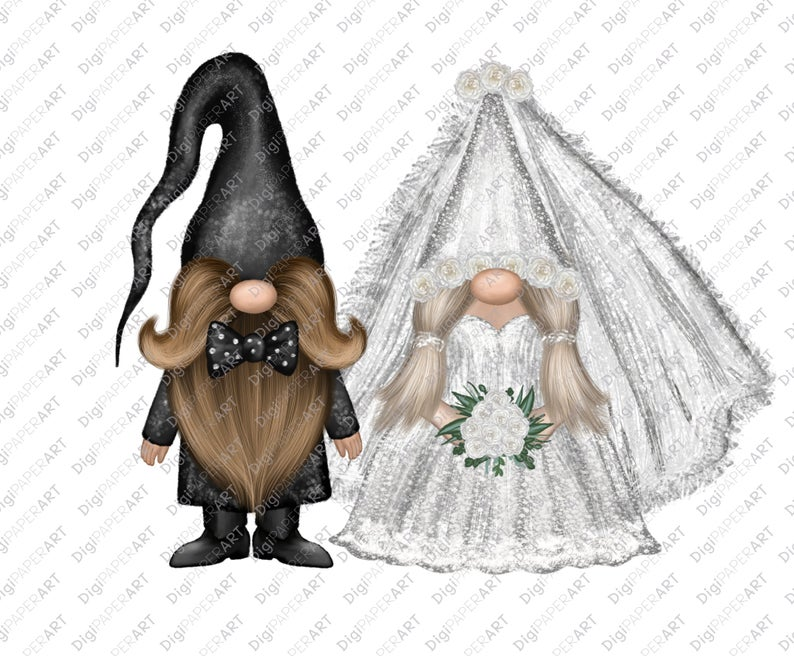 Wedding Png Sublimation Gnome Wedding Clipart Sublimation Etsy In 2021 Gnomes Clip Art Scandinavian Gnomes