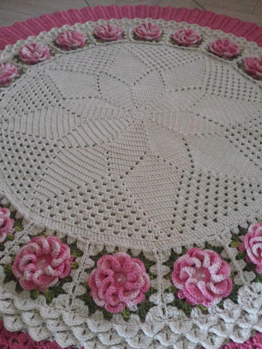 Tapete De Sala Redondo Medindo 1 50cm De Di Metro Nas Cores Cru E  -> Tapetes De Croche Para Sala