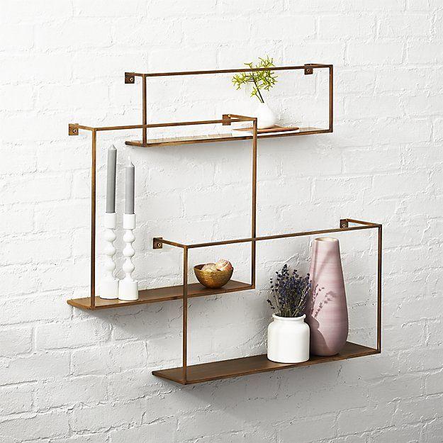 Antiqued Brass Floating Shelves Set Of 3 Reviews Diy Bathroom