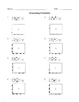 Equivalent Fractions Renaming Fractions Worksheet 4 Nf A 2 Tpt