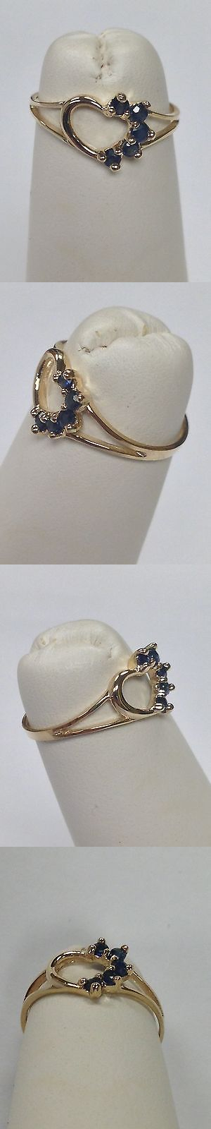 Rings 98477: Natural Sapphire Heart Ring For Children 10Kt Yellow Gold -> BUY IT NOW ONLY: $60 on eBay!