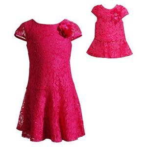 "Dollie Me Sz 7-14 and 18/"" doll matching dress outfit clothes fit american girl"