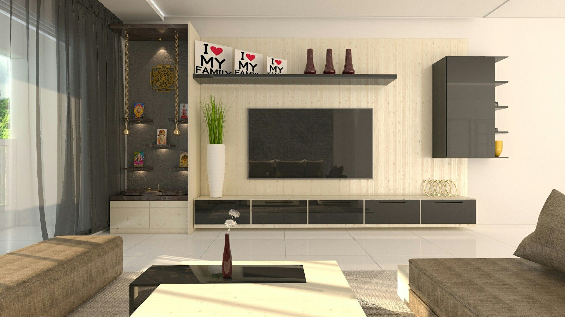 North East Pooja Area Next To The Tv Unit Living Room Tv Unit Tv Unit Design Living Room Tv Unit Designs