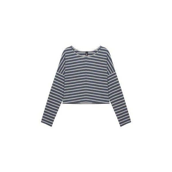 Yoins Cropped Striped Top (20 CAD) ❤ liked on Polyvore featuring tops, yoins, sexy crop top, drop shoulder tops, sexy tops, crop top and stripe top