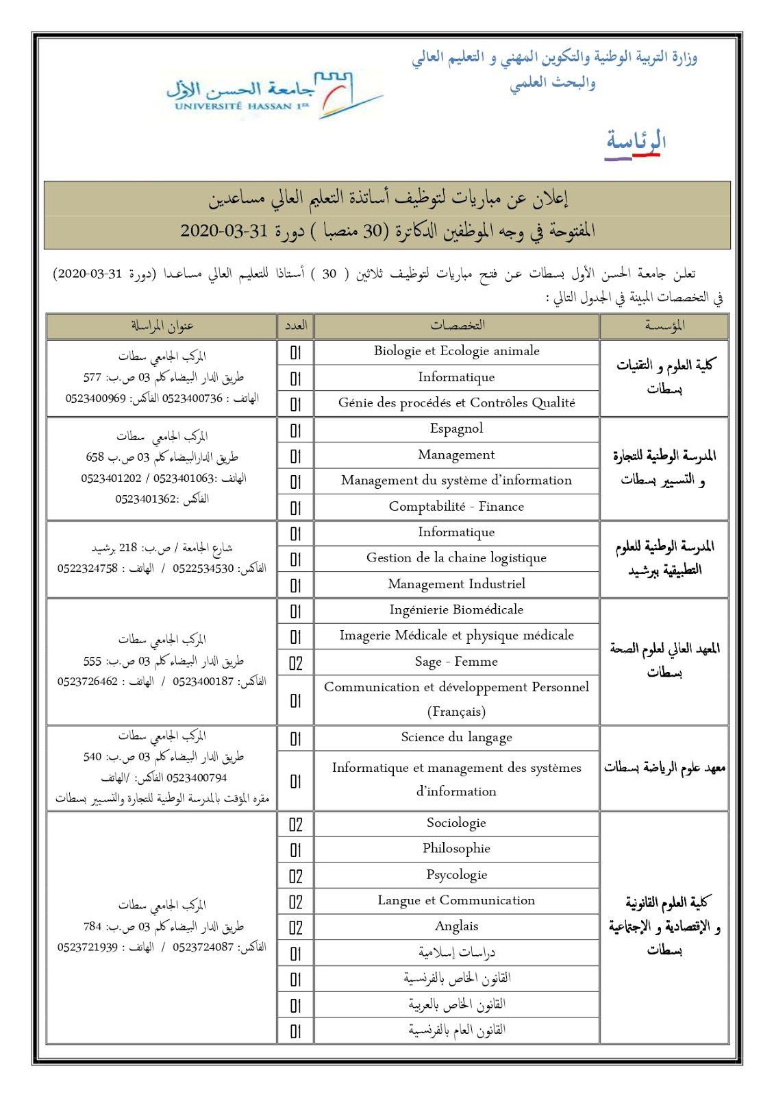 عــــــــــــاجل مباريات لتوظيف 184 أستاذ التعليم العالي مساعد بعدة جامعات مغربية آخر أجل 20 مارس 2020 Journal Bullet Journal