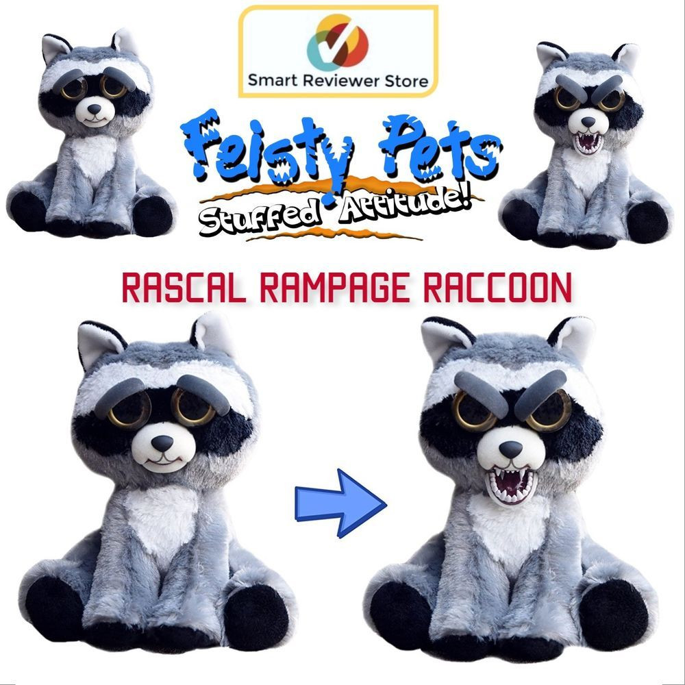 Feisty Pets Cute To Scary Stuffed Animal Plush Squeeze Toy Rascal Rampage 8 5 Feistypets Pets Animals Cute