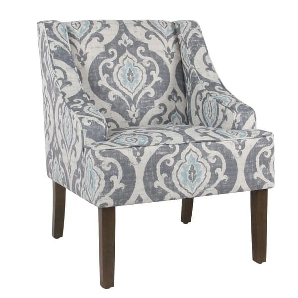 Accent Chair Swoop Wood Siding: HomePop Classic Swoop Accent Chair - Suri Blue