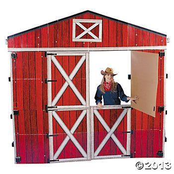 Large 3d Red Barn Stand Up Cardboard 157 50 Fr Oriental Trading Can We Make This Somehow Barnyard Roundup Vbs Barn Backdrop Barnyard Roundup