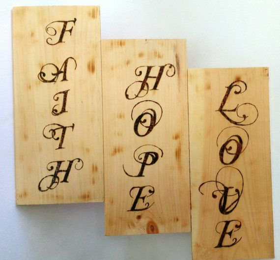 Faith Hope Love wall sign inspirational sign by CreatedbyJoedi ...