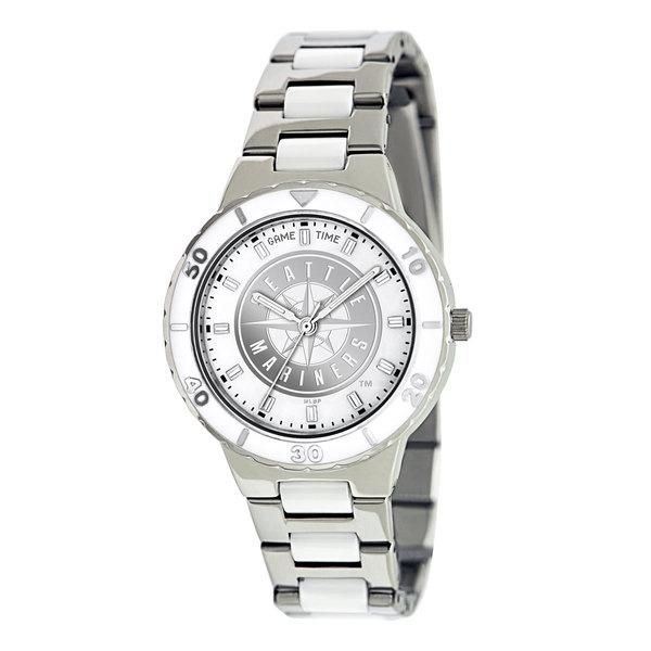 Seattle Mariners Ladies Quartz Analog Silver Round Case Silver Bracelet 35.9Mm Pearl