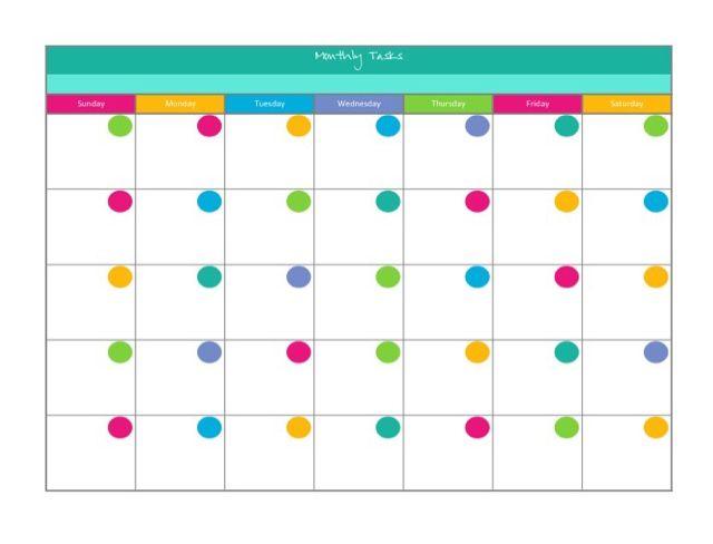 Free Colorful Blank Calendar  Organization    Blank
