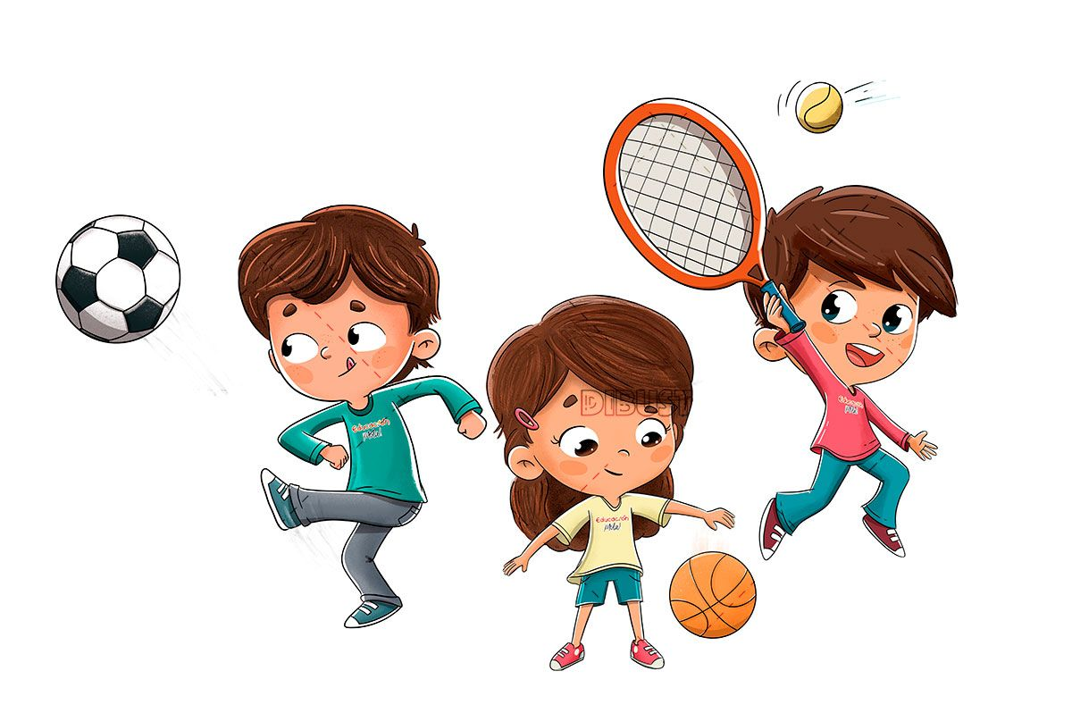 Children Playing Tennis Soccer And Basketball In 2020 Kids Playing Sports Football Illustration Kids Soccer