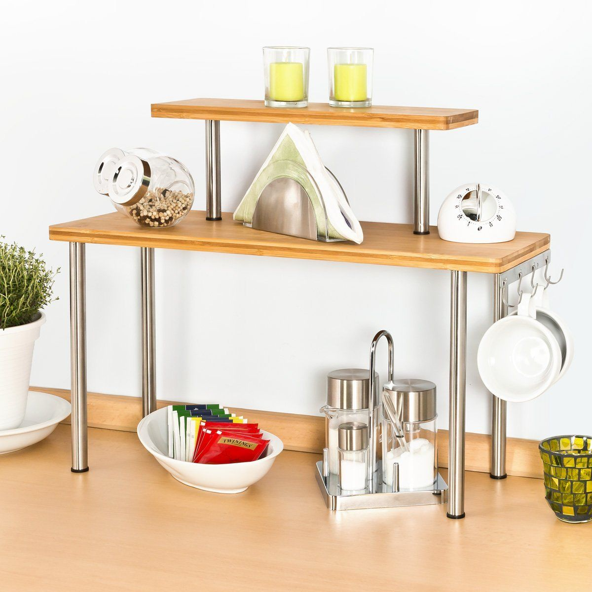 Bremermann Bamboo And Stainless Steel Kitchen Shelf Corner Shelf With Hooks Amazon De Kuche Haushalt Bambus Regal Kuchenprodukte Kuchenregal