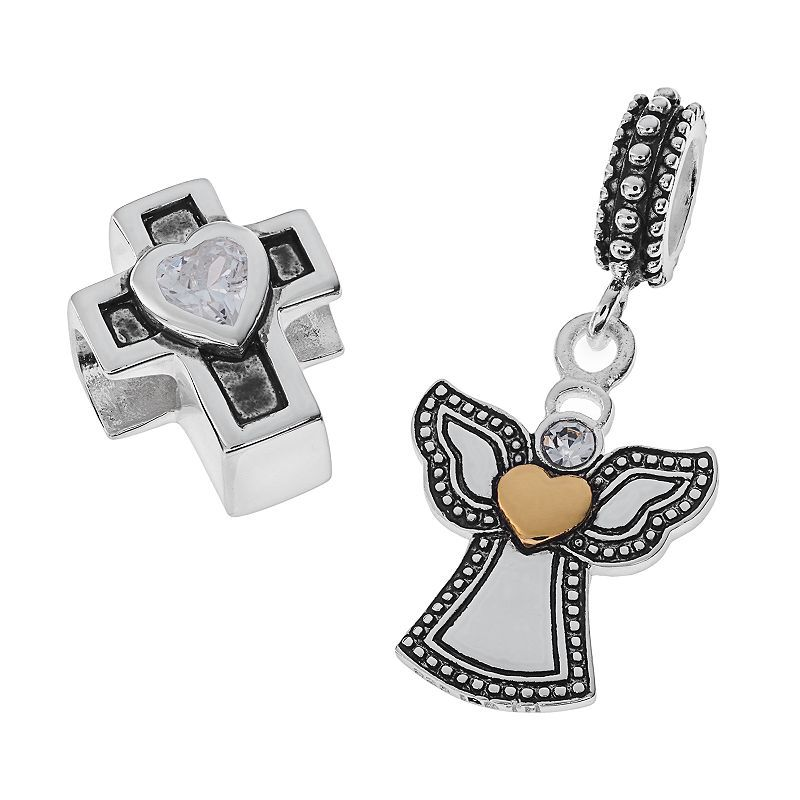 20c51b1f7 Individuality Beads Two Tone Sterling Silver Cubic Zirconia Cross Bead &  Crystal Angel Charm Set, Women's, Grey