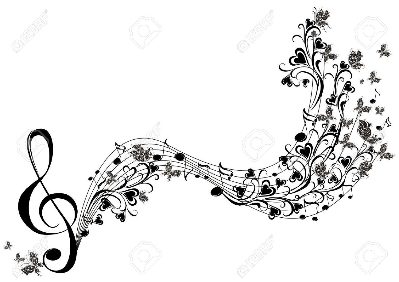 Line Art Free : Musical notes with butterflies royalty free cliparts vectors and