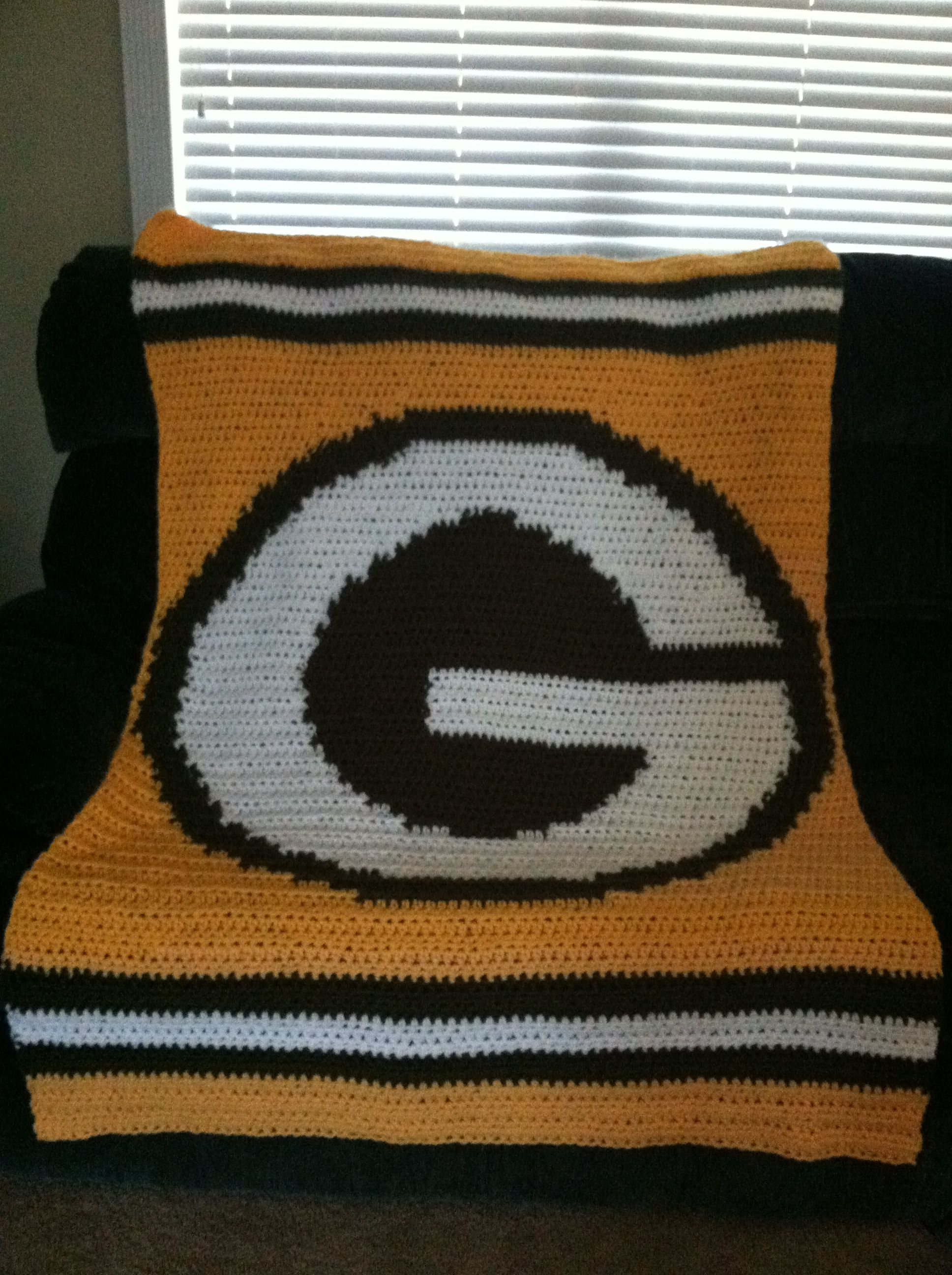 Green Bay Packers Crochet Blanket I Designed And Crocheted For A Dear Friend Who Is A Fan Afghan Crochet Patterns Baby Blanket Crochet Crotchet Patterns