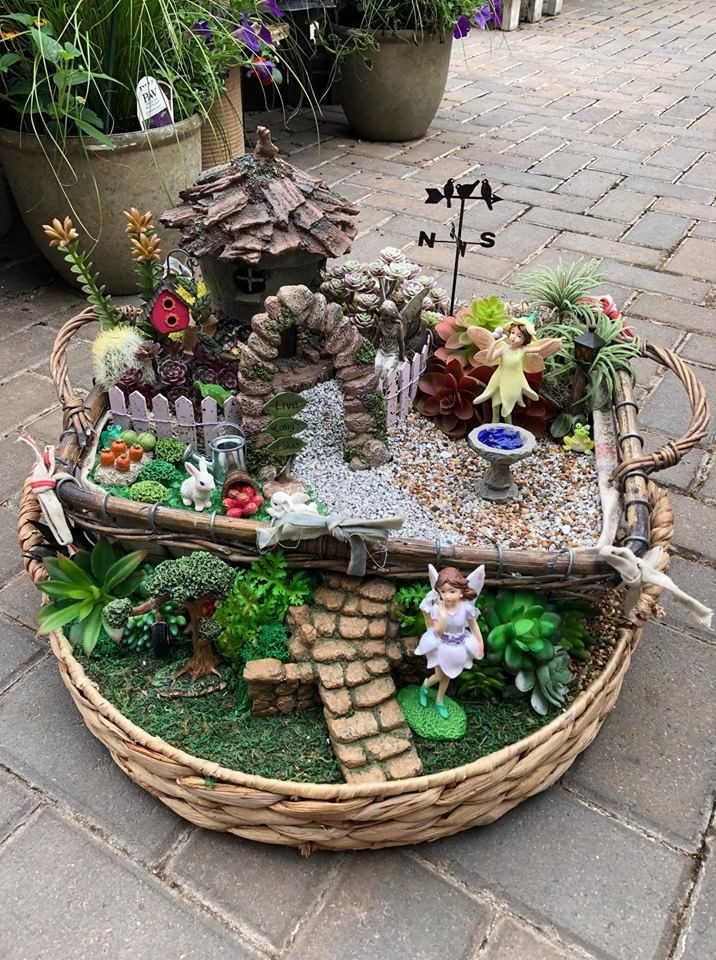 Fairy Garden In A Basket Indoor Fairy Gardens Mini Fairy Garden Fairy Garden Accessories