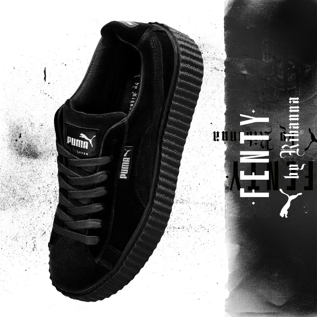 creepers velvet sneakers color black-fenty x puma black velvet creepers  sneakers from the collection