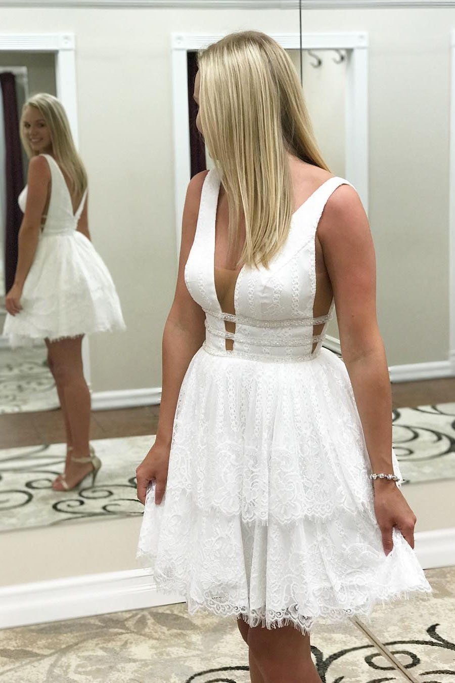 White Homecoming Dress Tiered Prom Dress Homecoming Dresses Short Elegant Homecoming Dresses [ 1350 x 900 Pixel ]