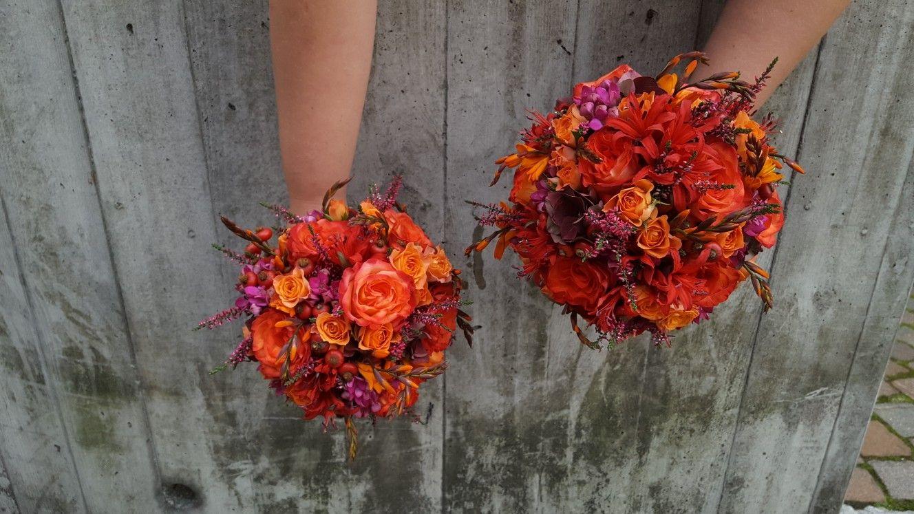 Brautstrauss Herbstlich Rot Orange Pink Wedding Hochzeit