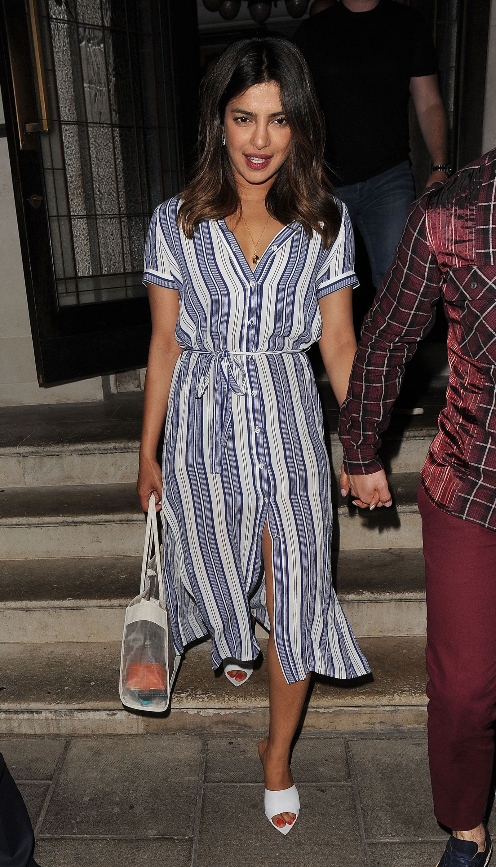 5ccd94317be Priyanka Chopra's Blue Striped Dress and White Mules Look for Less ...