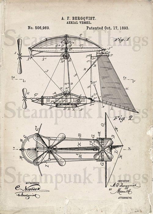 heyer engineering schematics steampunk airship patent print industrial wall art poster ... steampunk engineering schematics #4