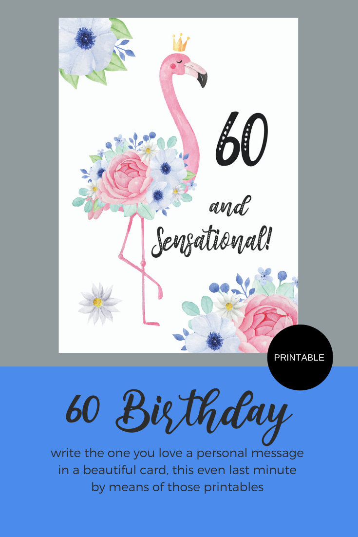 Printable 60 Birthday Flamingo Greeting Card Instant Digital Printable Download 70th Birthday Card Birthday Greeting Cards 70th Birthday