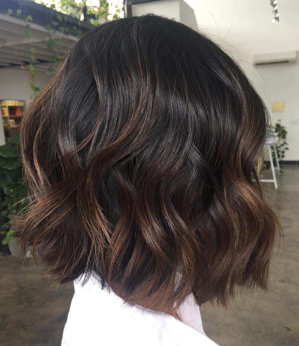 Black Bob With Chocolate Highlights Highlights For Dark Brown Hair Short Hair Balayage Coffee Brown Hair