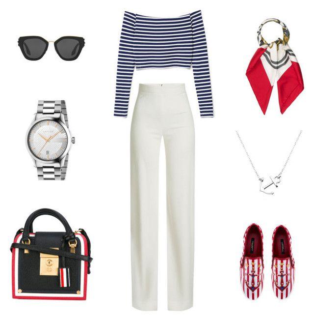 """Sea style"" by kryli4ka on Polyvore featuring мода, Brandon Maxwell, Prada, Dolce&Gabbana, Hermès, Gucci и Thom Browne"