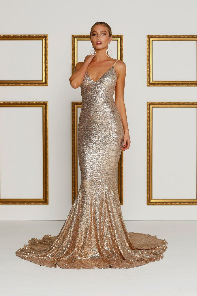 Yassmine Sequins Luxe - Rose Gold (Preorder) Rose Gold Evening Gown 67f4034aa6b9