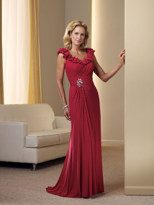 red mother of the bride dress | ... -chiffon-off-the-shoulder-a ...