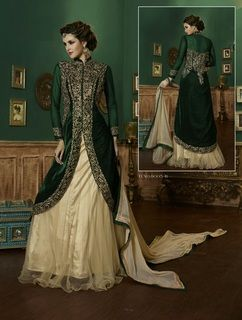 a2a05edd45c59 Bottle Green and Cream color Combination Velvet and Net Fabric Indowestern  Dress