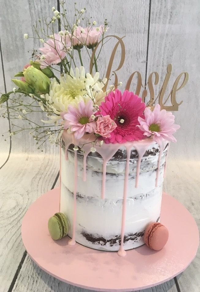 Semi Naked Drip Cake With Fresh Flowers Macaroons Small Birthday Cakes