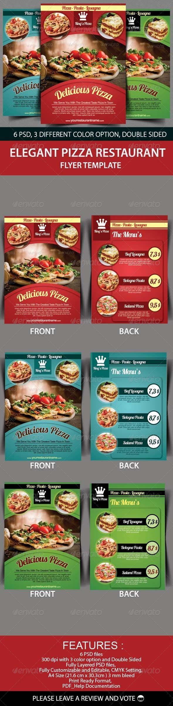 Elegant Pizza Restaurant Flyer Template   Folletos, Pizzería y ...