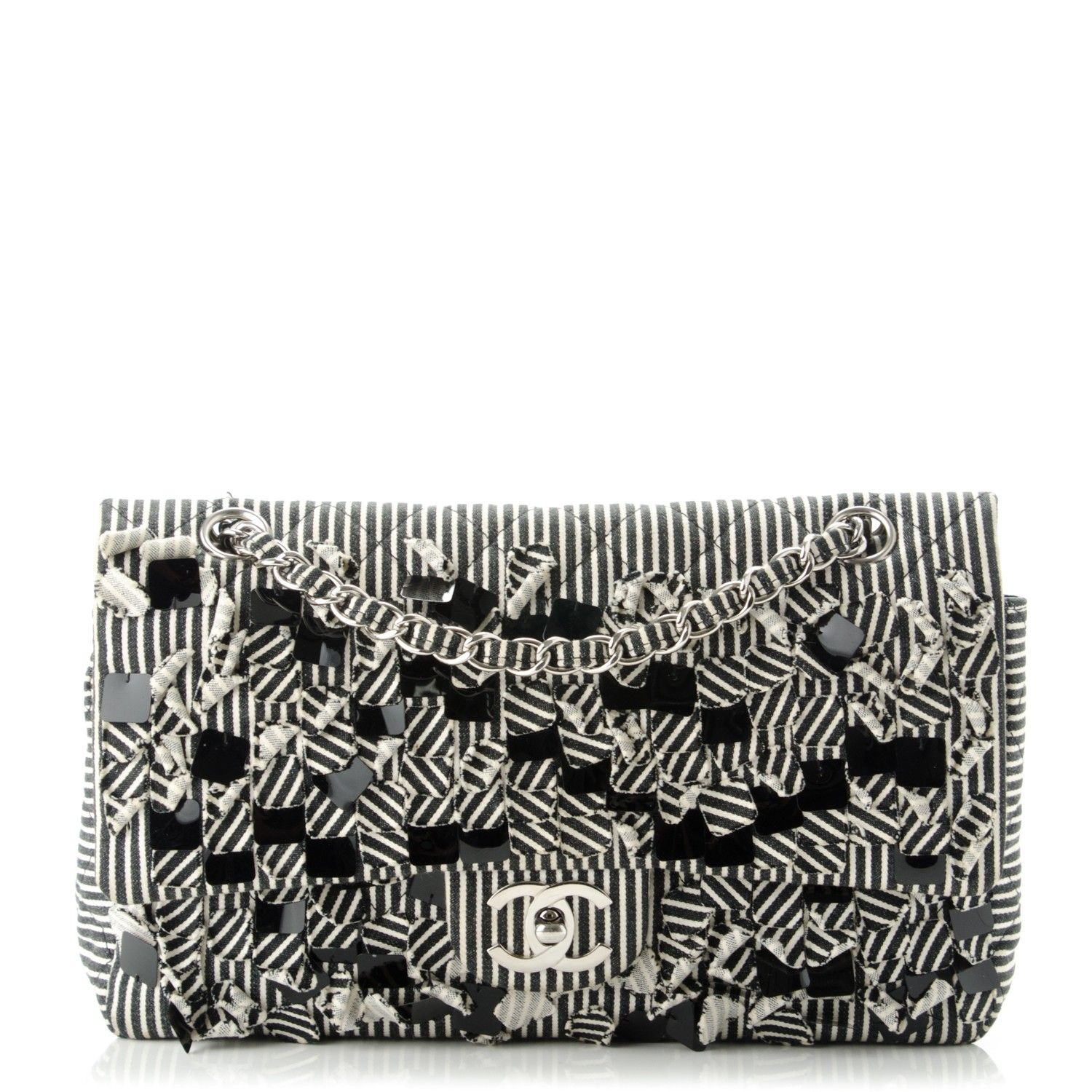 2cc6352efa24 This is an authentic CHANEL Canvas Sequin Stripe Medium Double Flap in Black  and White. This medium size flap is crafted of black and white striped  canvas.