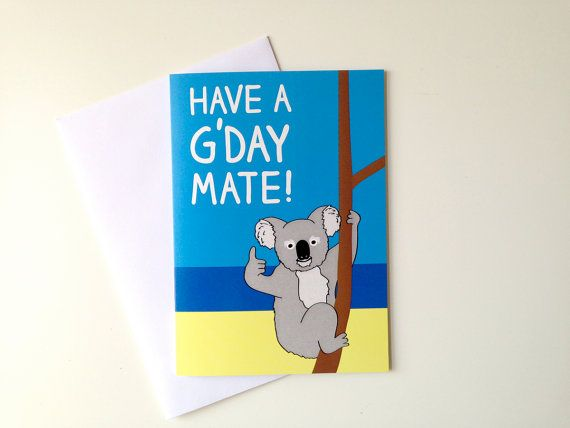 Koala Birthday Card Australian Birthday Card Aussie Bday Etsy Birthday Cards Happy Birthday Cards Anniversary Cards
