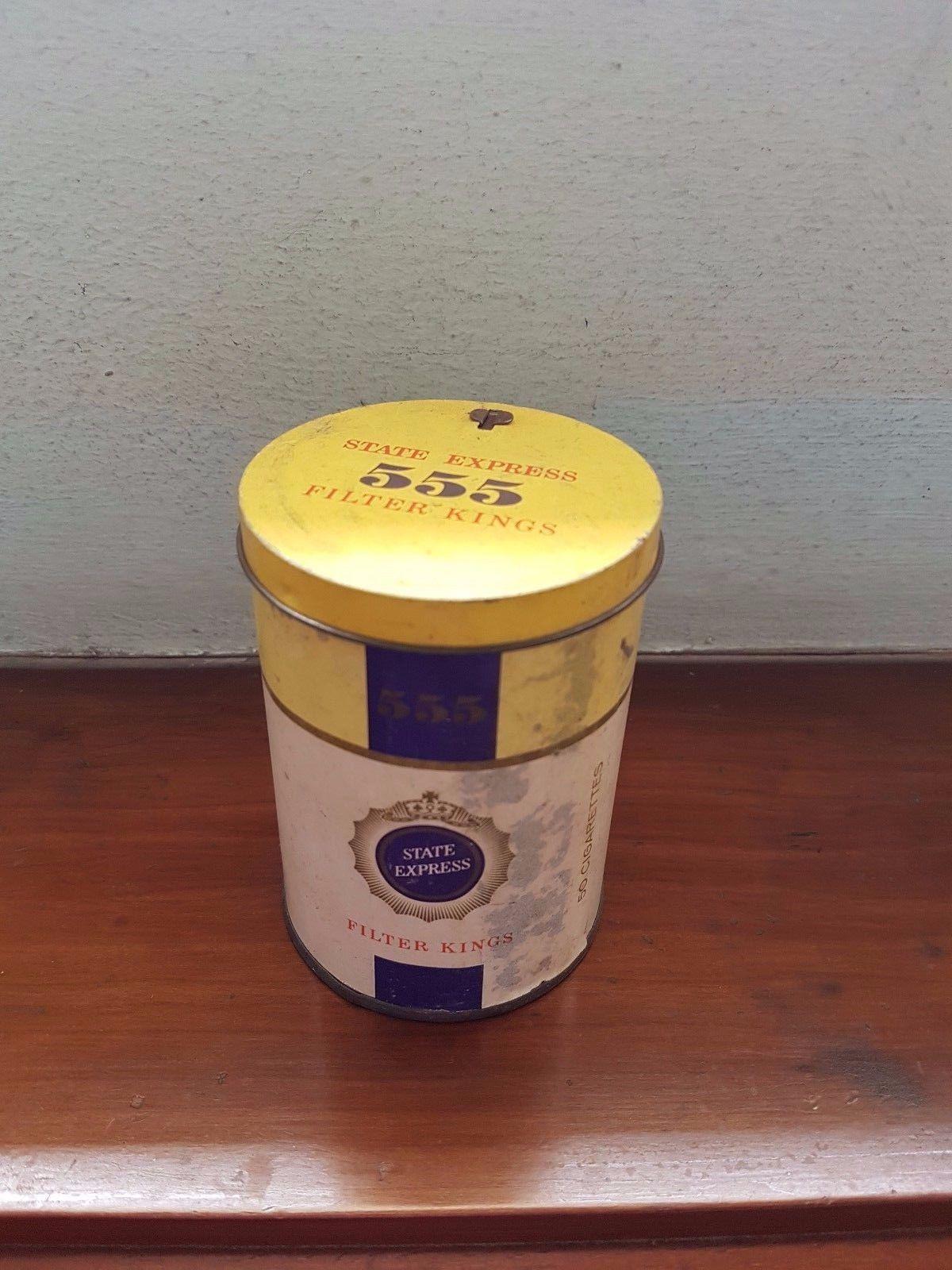 VINTAGE SINGAPORE STATE EXPRESS 555 CIGARETTE ROUND Tin Empty Box Case