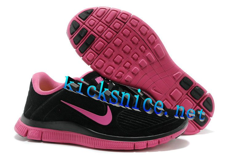 Nike free · $48.9 Womens #Nike #Free 4.0 V3 Suede Black Pink Running Shoes  ...