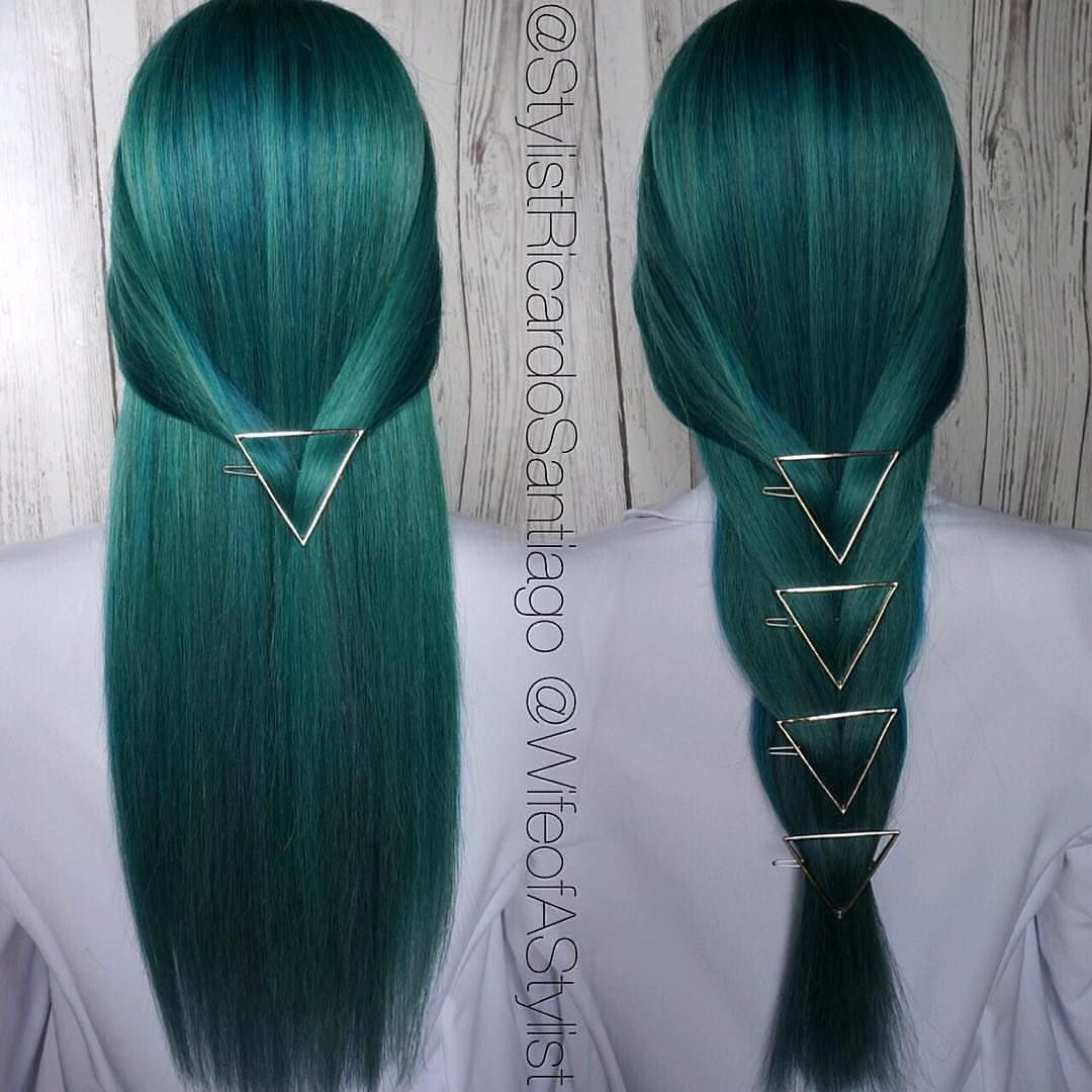 """""""A favorite!  Going to be redoing this head of hair this week... ❓❔❓❔What color should we do next!? QuickStyle By Angela, Color By @stylistricardosantiago """"I used all #joicointensity to create this color!"""" #hotforbeauty #orlandohairstylist . . . . #greenhair #huntergreenhair #longhair #longhairdontcare #longhairstyles #hairjewelry"""
