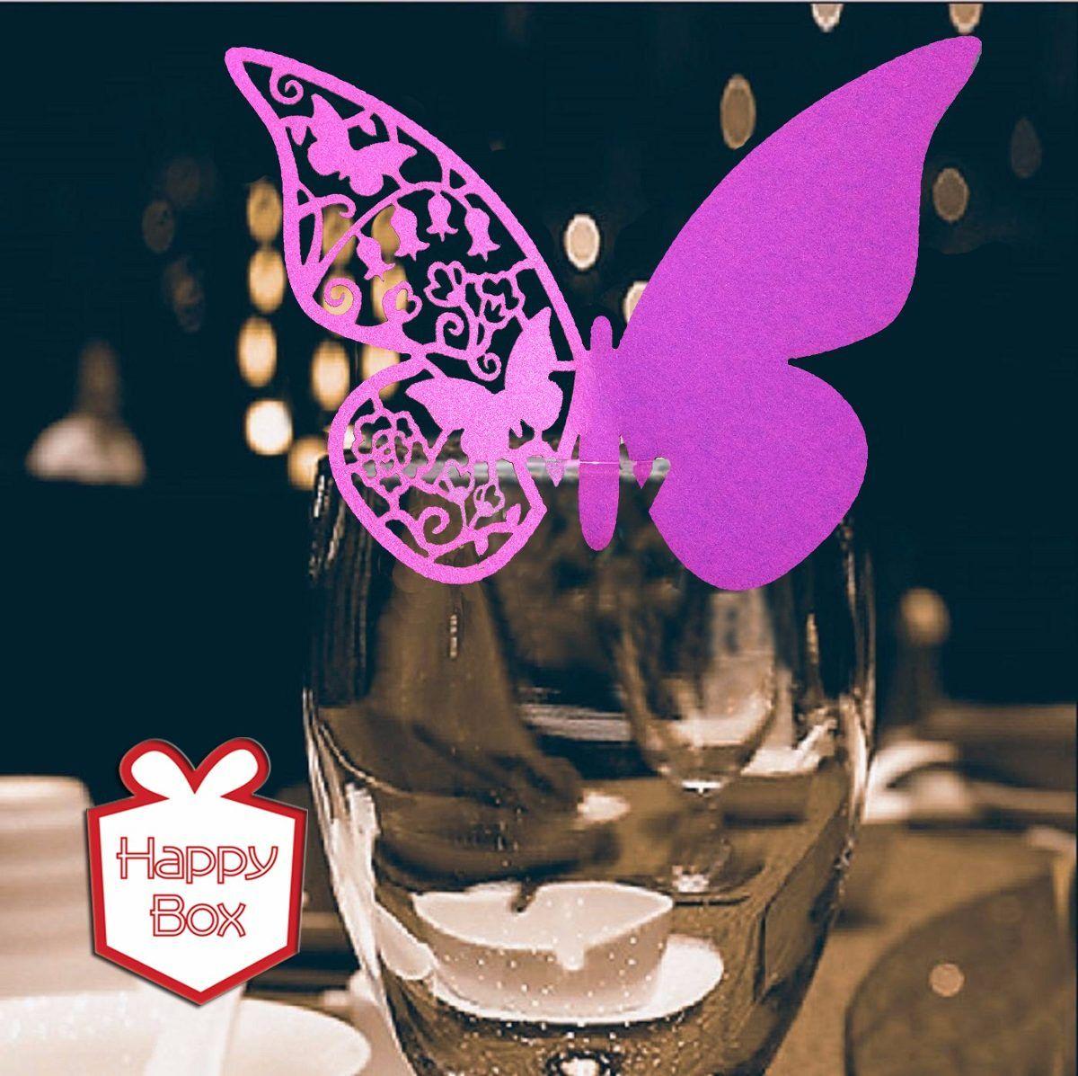 mariposas caladas papel perlado decorar copas x  en