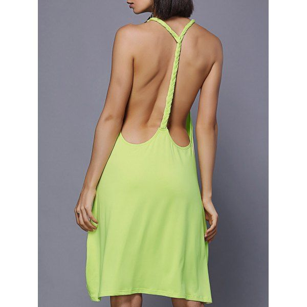 High Low Backless Mini Swing Dress — 12.05 € --------------------Size: XL Color: YELLOW