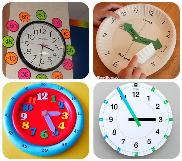 40 juegos educativos caseros las horas juegos educativos y el abecedario - Manualidades relojes infantiles ...