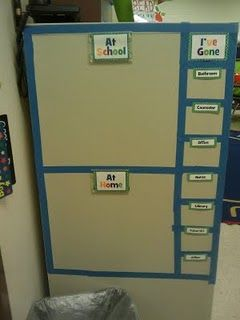 Keep up with where students are on file cabinet with magnet photos