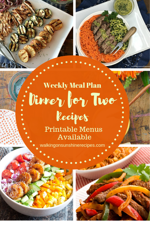 Dinner for Two Easy Recipes with Printable Menu images