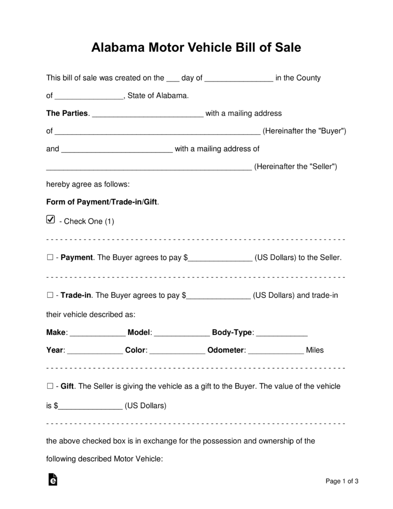 Free Alabama Motor Vehicle Bill Of Sale Form Word Pdf Eforms Free Fillable Forms Bill Of Sale Template Bill Of Sale Car Word Template