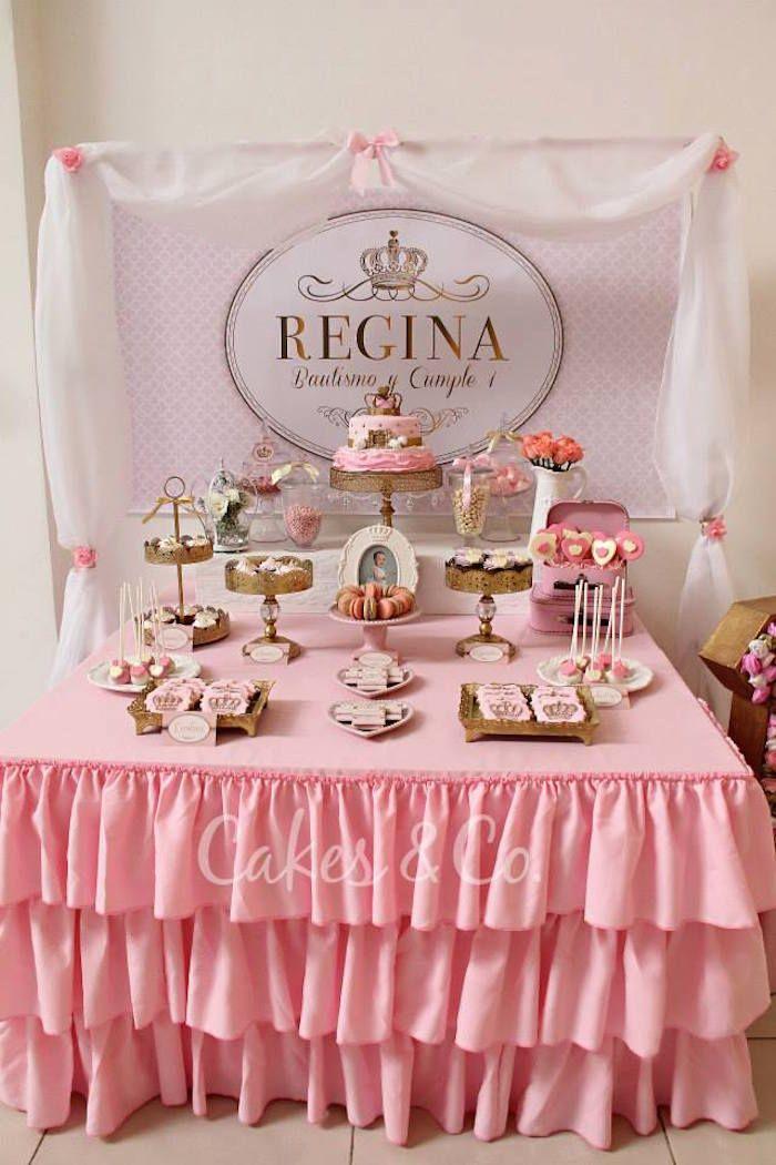 Pink Gold Princess 1st Birthday Party Via Karas Ideas KarasPartyIdeas Cake Decor Printables Giveaways And More