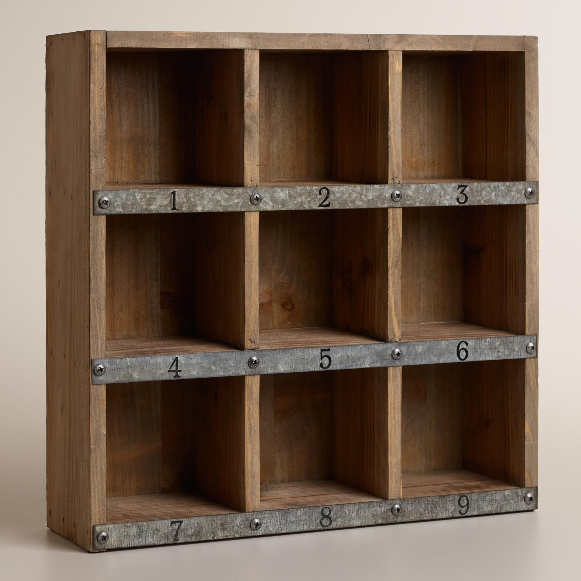 Wood and Metal Owen Numbered Desk Cubby  Desk cubby, Home office